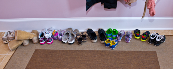 Kids shoes at West End Yoga